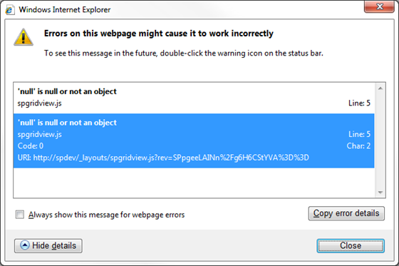 SPGridView Null or not an object error message dialog