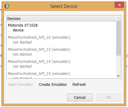 Select Device dialog
